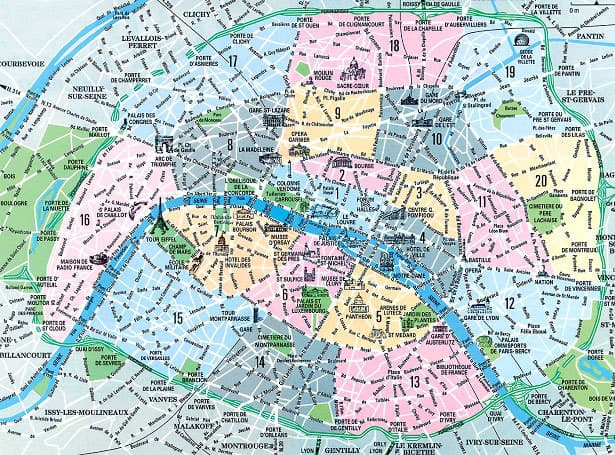Paris map with the different districts