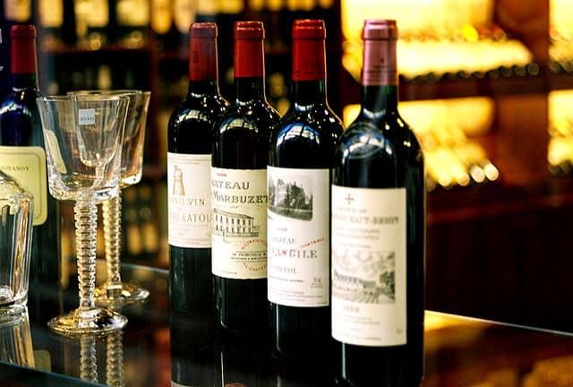 Several Bordeaux wines