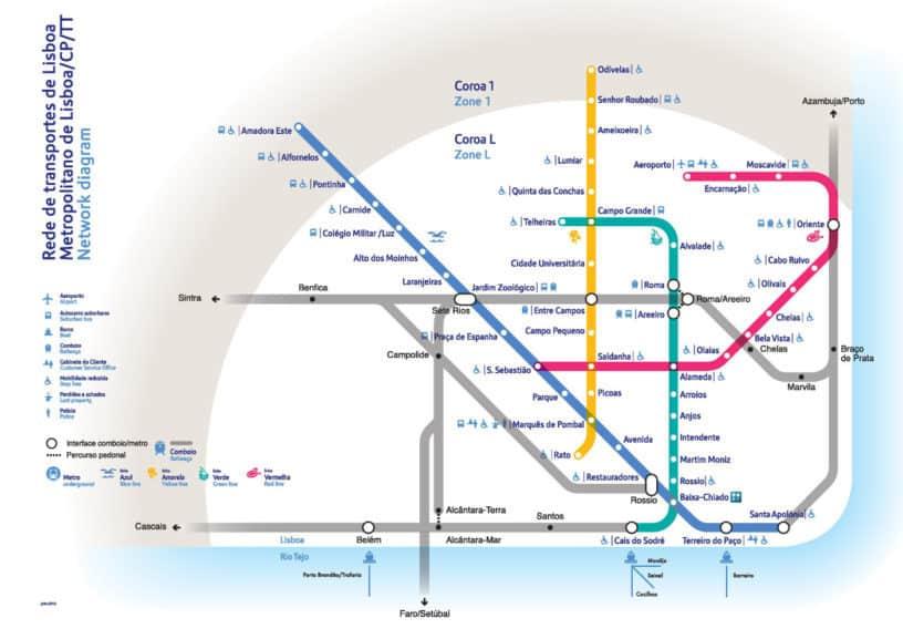 Subway Map Of Lisbon.Maps Of Lisbon Discover Walks Lisbon