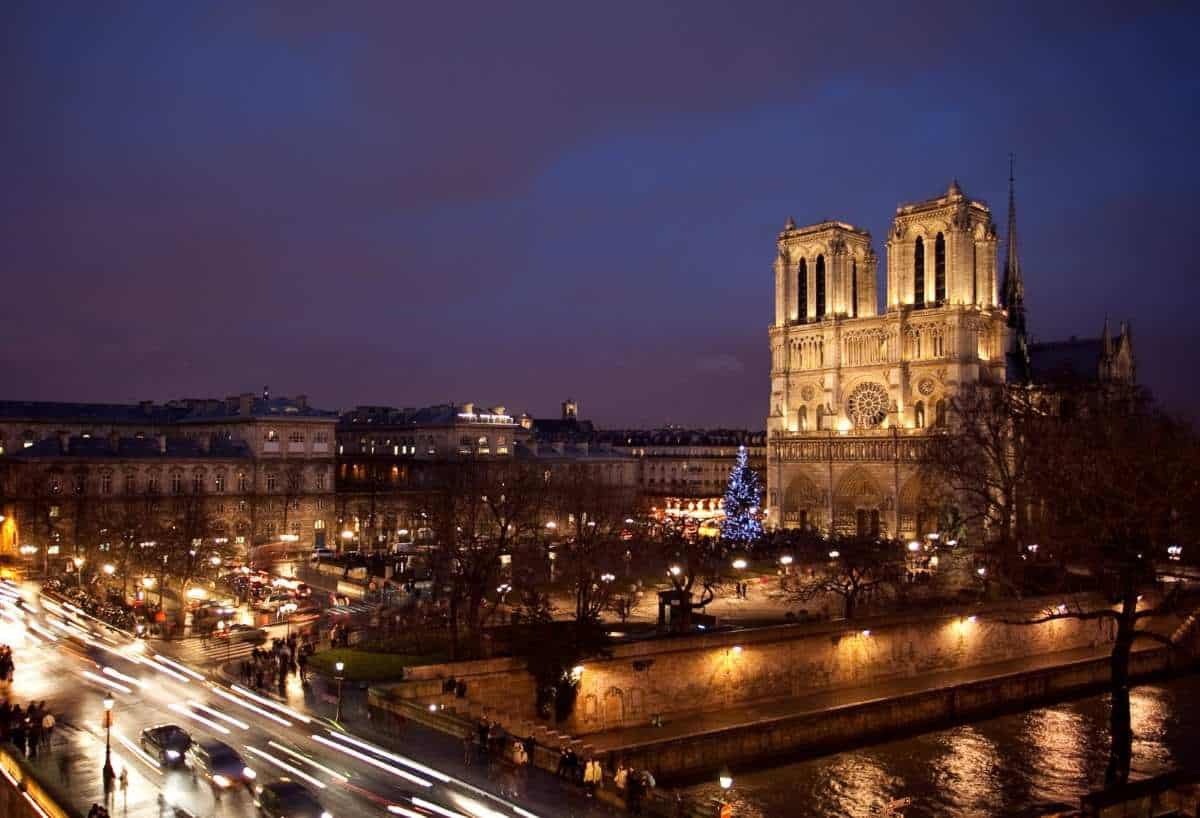 Notre Dame view at night