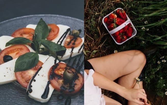 Strawberries tomatoes picnic