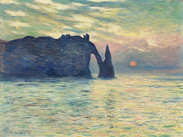 """""""The Cliff, Étretat, Sunset"""" (Claude Monet)"""