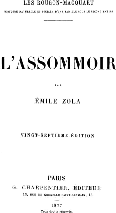 Book cover of L'Assommoir by Émile Zola