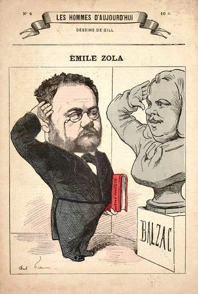 Émile Zola, the Rougon-Macquart under his arm, salutes his model Honoré de Balzac
