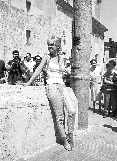 Brigitte Bardot in Spoleto, Italy on August 11, 1961
