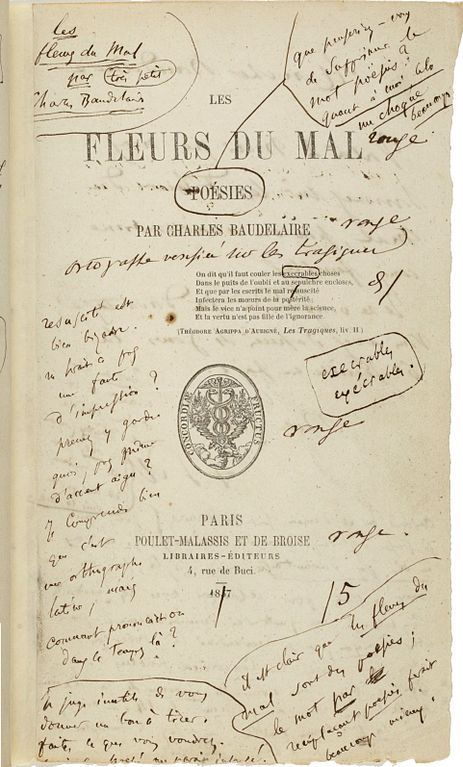 The first edition of Les Fleurs du mal with author's notes