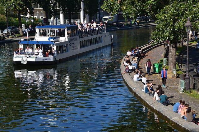 Paris Canal boat on Canal Saint Martin, Paris