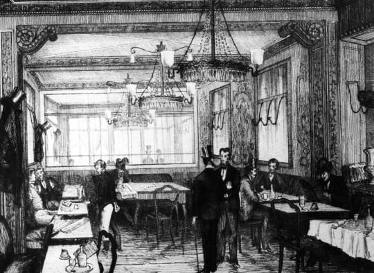 A gravure of Le Cafe Procope