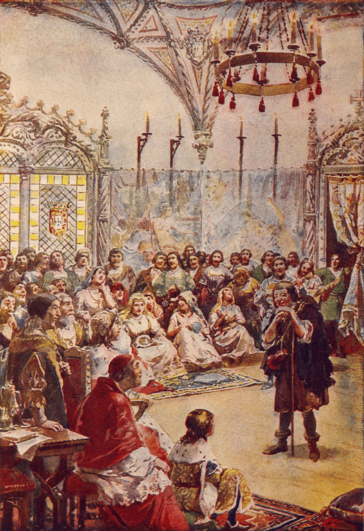 Gil Vicente performs one of his plays before the Court of King Manuel I