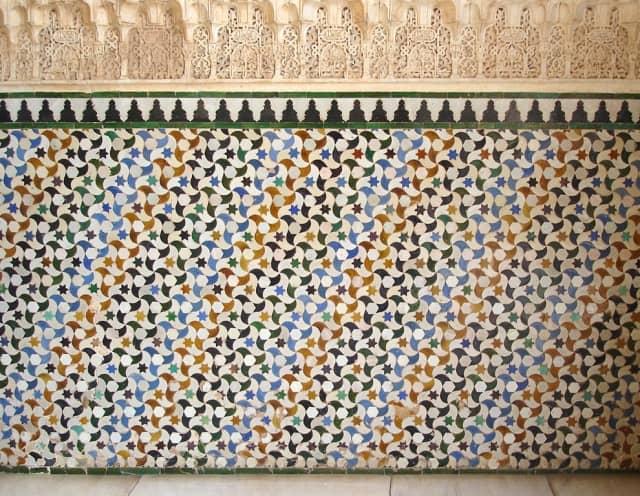 Azulejo tiles in Alhambra Palace, Grenada, Spain