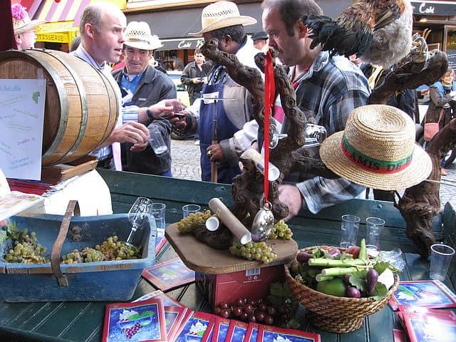 Tasting table at La Fête des Vendanges