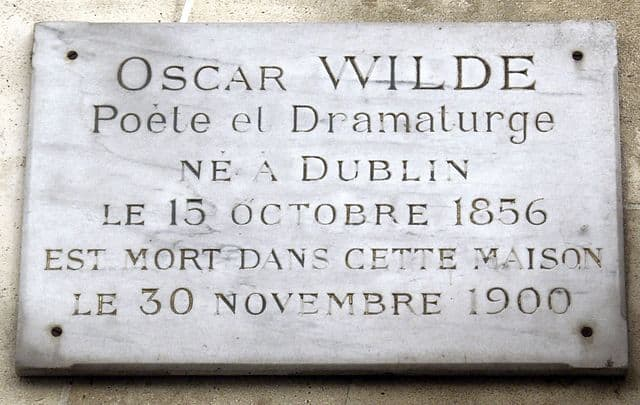 Plate commemorating Wilde