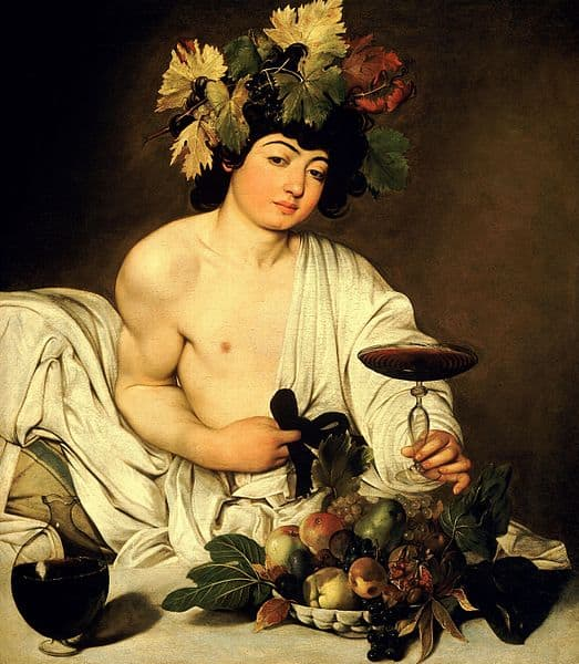 The god of wine, Bacchus by Caravaggio