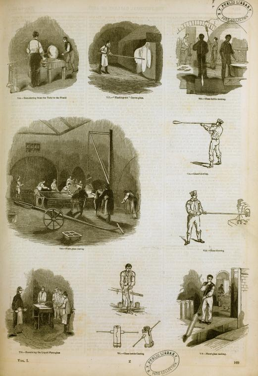 Glassworking and glassblowing in England in 1858.