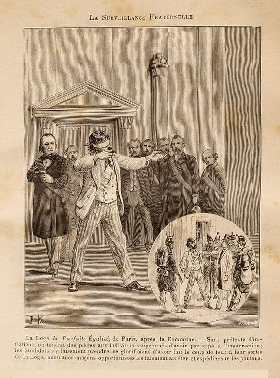 Drawing depicting a Freemasonry ritual