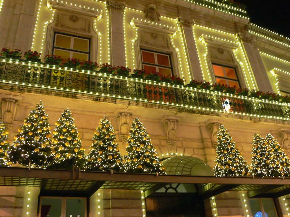 Lisbon Christmas lights Chiado