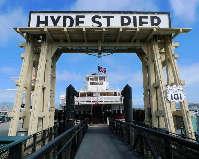 Hyde Street Pier and Highway 101 sign