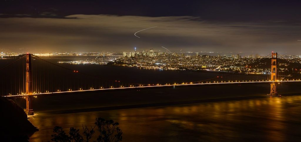 From Marin Headlands to San Francisco at night