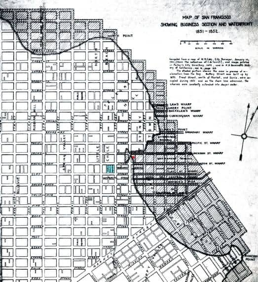 Map showing the amount of landfill in San Francisco in 1850's