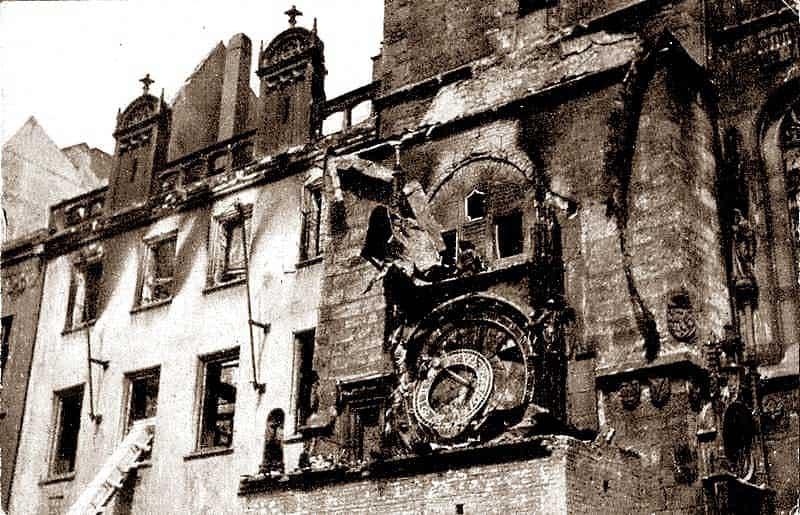 Prague during 1945 bombing