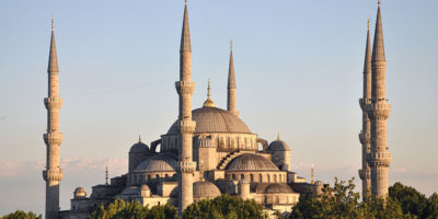 An exterior photo of the Blue Mosque