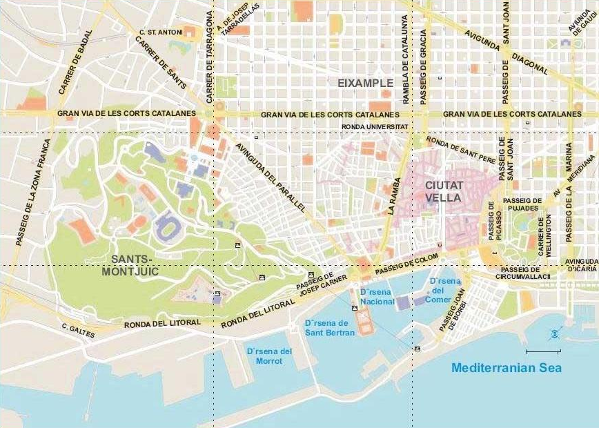 Map of Barcelona Things to do